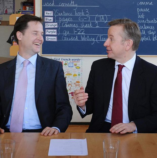 Deputy Prime Minister Nick Clegg with Education Secretary Michael Gove