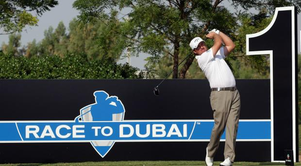 Graeme McDowell in action during a practice round yesterday, prior to the start of the Dubai World Championship
