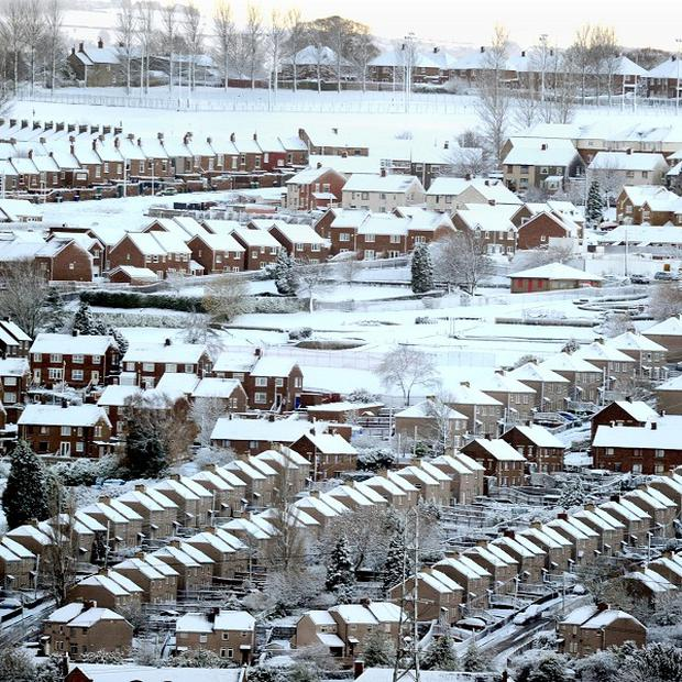A wintery scene in Blaydon, Newcastle, as the Met Office issued severe weather warnings