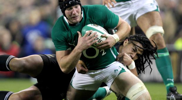 Stephen Ferris during the clash with the All Blacks last weekend