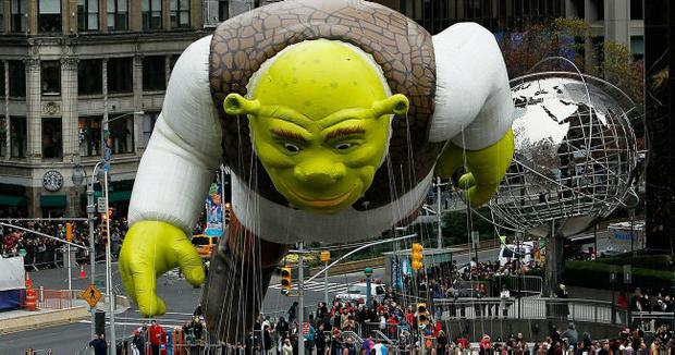 A float depicting the cartoon character Shrek moves down the Macy's Thanksgiving Day parade route November 25, 2010 in New York City.