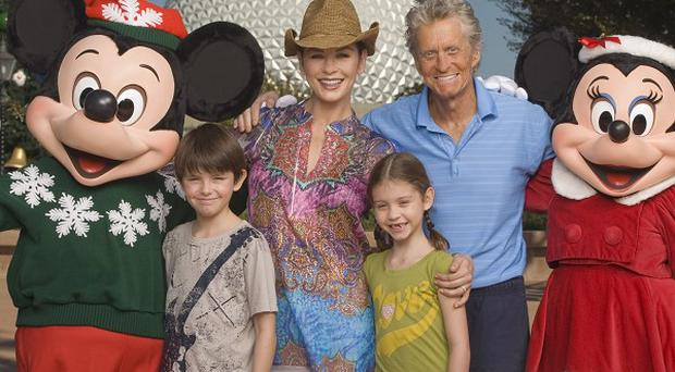 Michael Douglas was pictured out with his family
