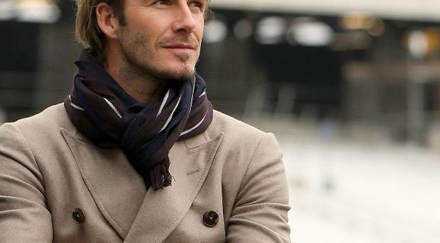 David Beckham during a visit to the Olympic Stadium in Stratford, east London