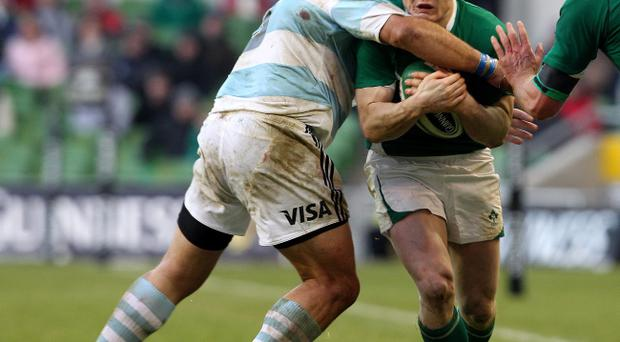 Brian O'Driscoll, who is out through injury, takes a big hit during Ireland's win over Argentina at the weekend