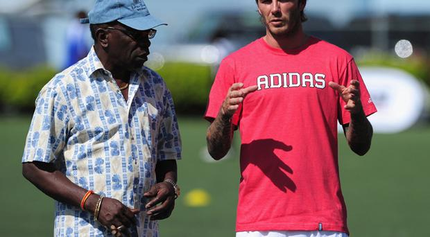 David Beckham pictured with CONCACAF president Jack Warner in Trinidad and Tobago