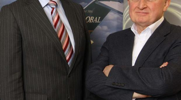 Alastair Hamilton, Invest NI chief executive (left) joined David Raymond, chairman of Base, as the company announced it had been awarded a major contract on an Airbus programme in Germany