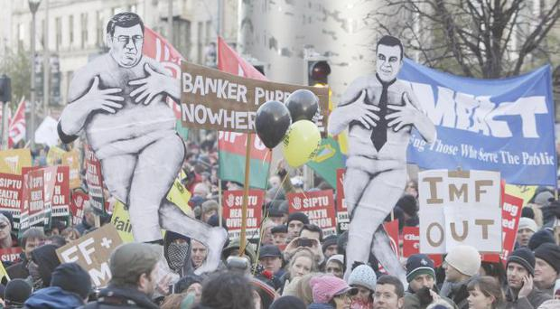 Mass protests in Dublin followed news of the bail-out plan