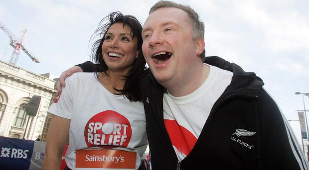 Stephen enjoys a laugh with Christine at a Sport Relief event