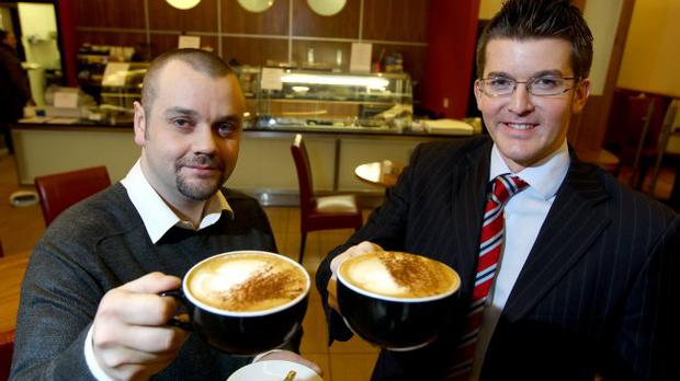Owner Barry McCann (left) with Lisney's Stephen Chambers at the launch of Jimmy Brown's cafe
