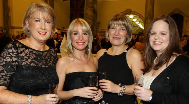 Bridghe Grimes, Ruth Morgan, Judith Davis and Ellie Miskelly pictured at the Northern Ireland Chamber of Commerce President's Banquet at Belfast's City Hall