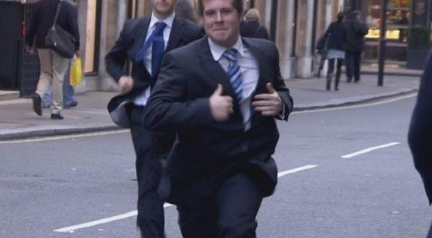 Stuart Baggs and Chris Bates race to meet their deadline on The Apprentice