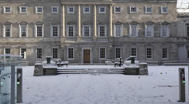A snow covered Leinster house in Dublin