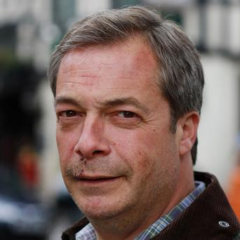 Ukip leader Nigel Farage was injured during the polling day stunt