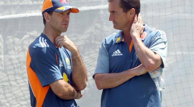 Ricky Ponting talks to Andrew Hilditch during an Australian Nets Session at Adelaide Oval.