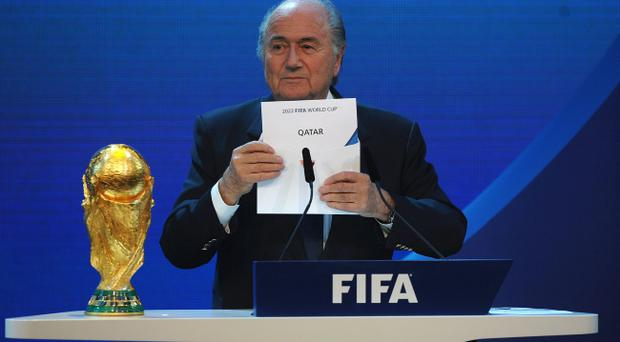 ZURICH, SWITZERLAND - DECEMBER 02: FIFA President Joseph S Blatter names Qatar as the winning hosts of 2022 duirng the FIFA World Cup 2018 & 2022 Host Countries Announcement at the Messe Conference Centre on December 2, 2010 in Zurich, Switzerland. (Photo by Laurence Griffiths/Getty Images)