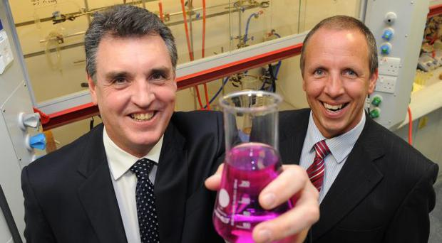 Mark Scrutton (left), president and managing director at Galen Limited joins Robert Garrett, head of corporate banking at Northern Bank, to mark a multi-million pound research and development project