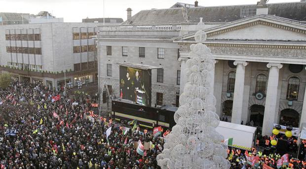 Thousands of people marched through Dublin in protest against the Government's austerity measures