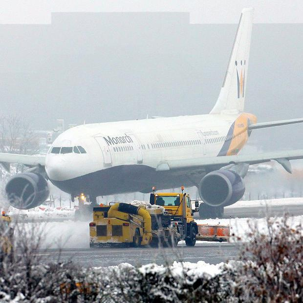 Many flight timetables have been thrown into chaos by the snow