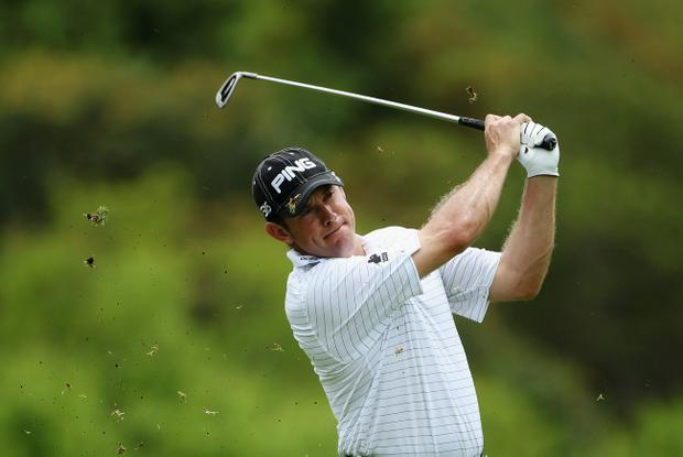 Lee Westwood on his way to a birdie yesterday