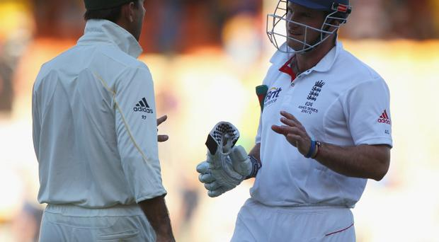 Ricky Ponting loses his cool with Graeme Strauss yesterday