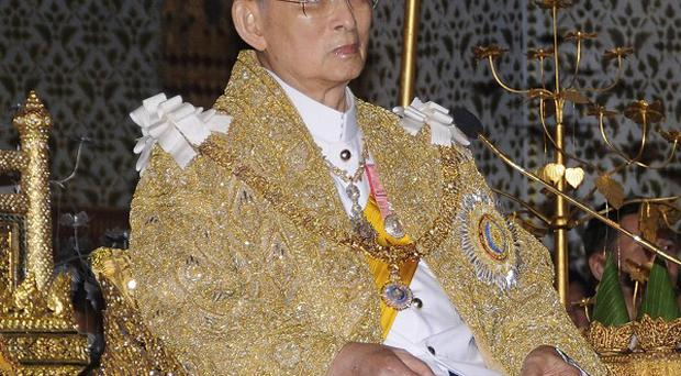 Thai King Bhumibol Adulyadej delivers his annual birthday speech as part of his 83rd birthday celebrations (AP)