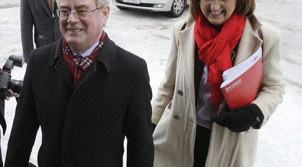 Labour Leader Eamon Gilmore and Finance spokeswoman Joan Burton
