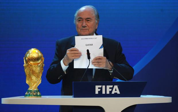 FIFA President Sepp Blatter names Qatar as the winning hosts of 2022 duirng the FIFA World Cup 2018 & 2022 Host Countries Announcement at the Messe Conference Centre on December 2, 2010 in Zurich, Switzerland.