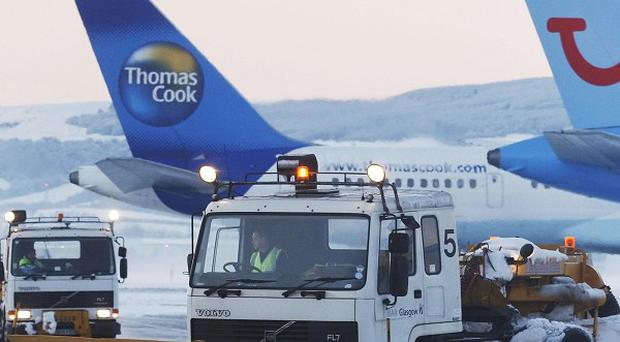 The scene at Glasgow Airport amid heavy snow
