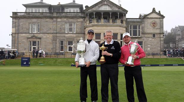 Europe's victorious Ryder Cup captain Colin Montgomerie says Martin Kaymer (left) and Graeme McDowell (right) deserve to share the European Tour Player of the Year award