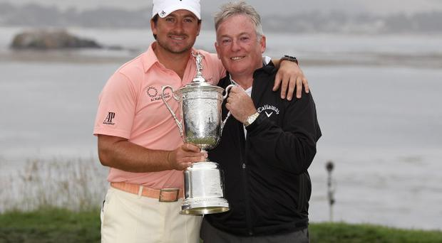 Graeme McDowell with his father Kenny on the day that he won the US Open at Pebble Beach