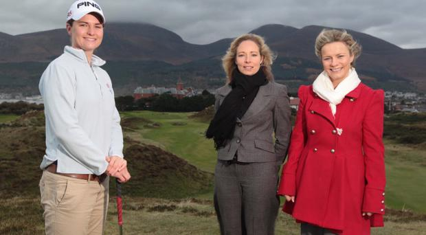 Top local golfer Danielle McVeigh (left) with Catherine McKeown from Sport NI and Maeve McKeefry (right) of Linwoods at Royal County Down