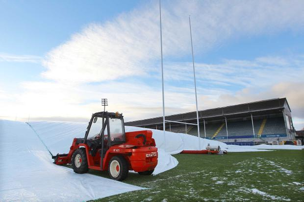 Ground staff have been working hard and using industrial blowers to clear Ravenhill for what Brian McLaughlin hopes will be a fine day for Ulster