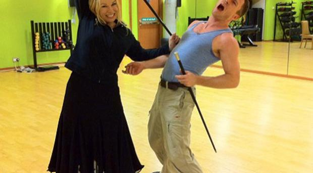 Pamela Stephenson took time out from dance rehearsals for a bit of play fighting