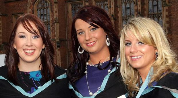 Winter graduations at Queen's University, Belfast pictured yesterday outside the Queen's building. Gemma Craven, Julie-Anne Curtis, Karen Johnston, Ashleigh Dobbin and Orla Cunningham who all graduated in Nursing Science