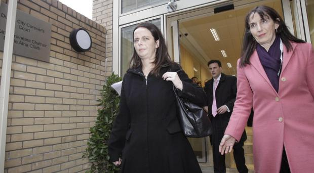 Gerry Ryan's partner Melanie Verwoerd (left) leaving the inquest into his death at Dublin Coroner's Court this morning. Ryan had cocaine in his system when he died, an inquest heard today.