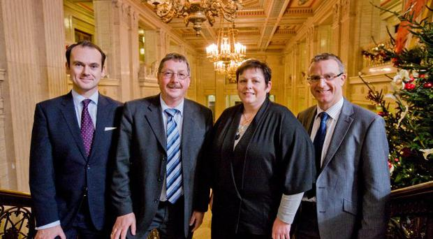 Sammy Wilson with Gerry Mallon, chief executive of Northern Bank, Joanne Stuart, chair of the Institute of Directors and Ian Jordan, head of business centres at Ulster Bank