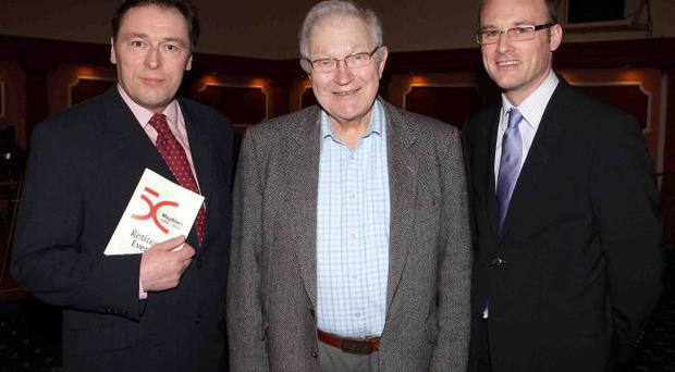 Professor Peter McKie (centre) with Tom Bollaert (right) and Pat Carroll, Lord Wakehurst