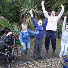Riverside pupils James Poole, Ben Gibson, Thomas Blade, teacher Sarah Ballantine, Ciara Redmond and Luke Monaghan celebrate their nomination in the Best Garden category.