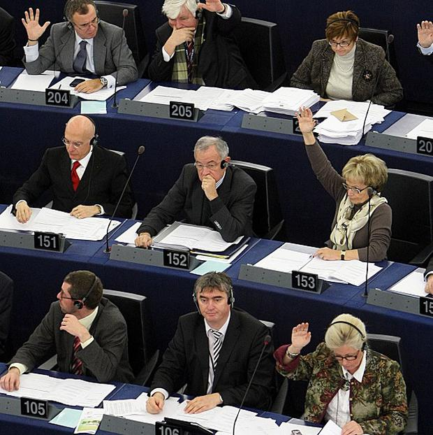 Members of the European Parliament vote to adopt their budget for 2011 (AP)