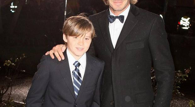 David Beckham and his son Brooklyn arrive at A Night of Heroes: The Sun Military Awards