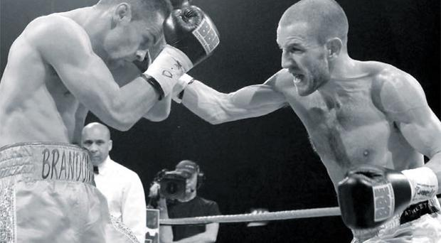 Festive punch: The King's Hall crowd were treated to a Christmas |present as Martin Lindsay took on John Simpson and after a gripping 12 rounds of action it was the Scotsman who took the British Featherweight crown back across the Irish Sea.