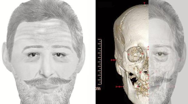 In this combination digital image made available by Jean-Noel Vignal and Isabelle Huynh-Charlier Wednesday Dec. 15, 2010, a reconstruction of the face France's King Henri IV is seen, left, and his skull with the reconstruction overlaid is seen at right. After nine months of tests, researchers in France have identified the head of France's King Henry IV, who was assassinated in 1610 aged 57. The scientific tests helped identify the late monarch's embalmed head, which was shuffled between private collections ever since it disappeared during the French Revolution in 1793. (AP Photo/Jean-Noel Vignal and Isabelle Huynh-Charlier)