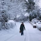 A woman makes her way to the shops after heavy snowfall across Northern Ireland