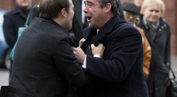 Corrie's Tyrone Dobbs (Alan Halsall) confronts Kevin Webster, played by Michael Le Vell