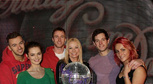 The finalists Strictly Come Dancing finalists pose with the winner's trophy, during rehearsals