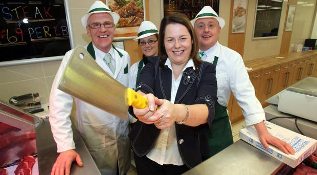 (From left to right) John Dunne (Manger), Francene Ponise (Assistant Manger), Minister for the Department of Agriculture and Rural Development Michelle Gildernew and butcher Patrick Hope attending the launch of the new Tenderlean Butcher shop at Kennedy Centre, Belfast.