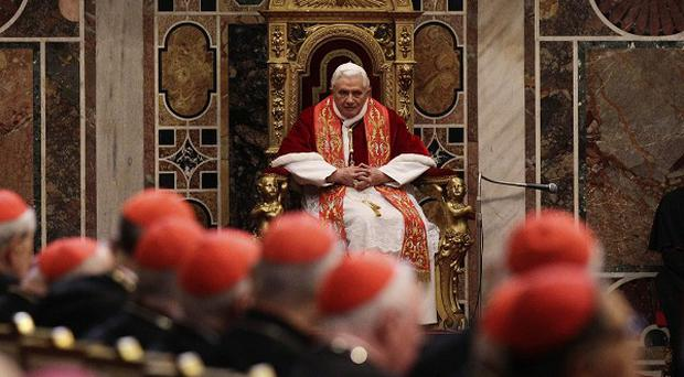 Pope Benedict XVI, at the traditional exchange of Christmas greetings to the Curia, in the Regia Hall at the Vatican (AP)