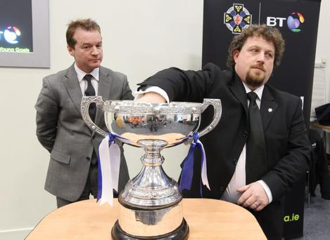 Peter Morris, Consumer Director BT and Paddy Linden (Vice Chairman Ulster Colleges) make the MacRory Cup draw