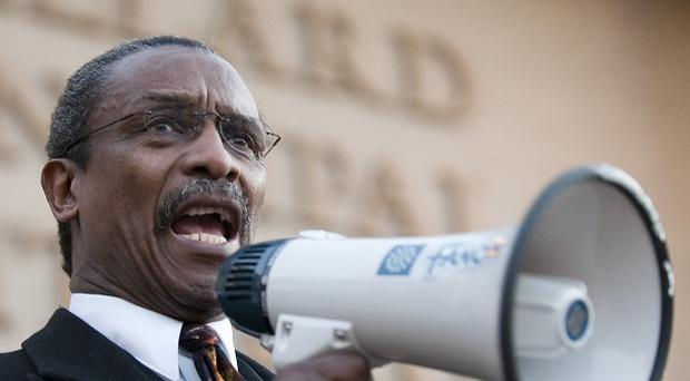 Lonnie Randolph, president of the South Carolina branch of the NAACP, addresses a protest outside a 'secession ball'
