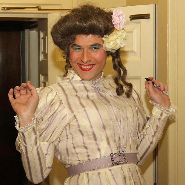 David Walliams in costume as a pantomime dame
